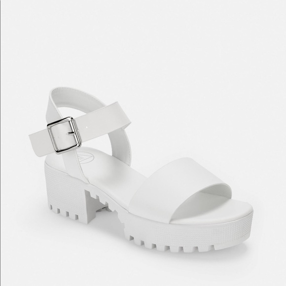 White Cleated Platform Sandals